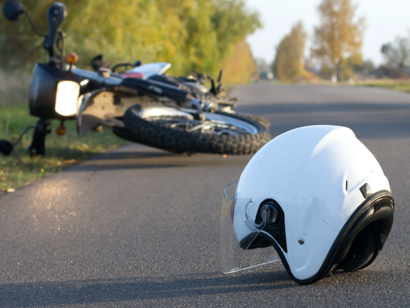 Motorcycle Accident Scene With Tipped Over Bike